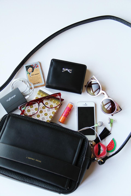 prune-bag-handbag-whats-on-my-bag-sunnies-rice-paper-iphone