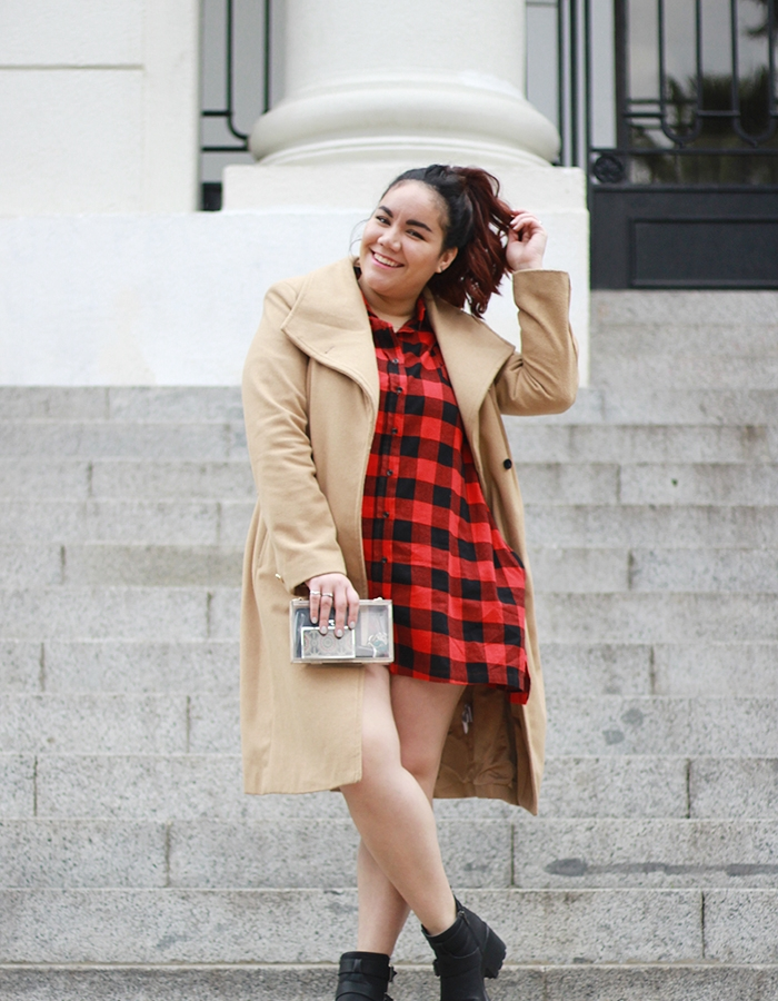 The red checkered dress