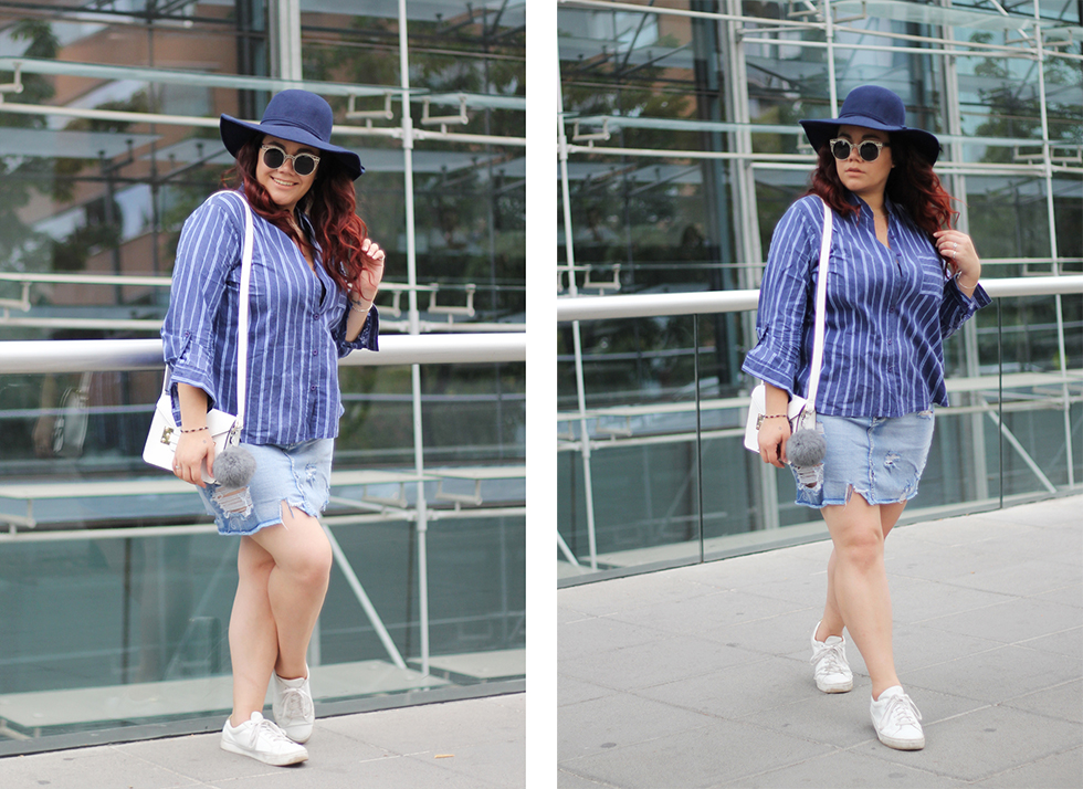 fashion-blogger-denim-skirt-forever21-yoins-blue-hat-lookchic-quay sunglasses-mexican-ripped-stripes-prune-white-bag-santiago