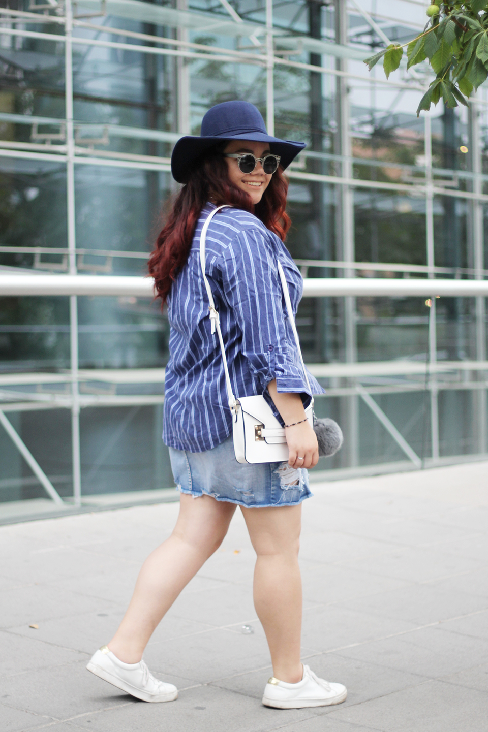 fashion-blogger-denim-skirt-forever21-yoins-blue-hat-lookchic-quay sunglasses-mexican-ripped-stripes-sneakers-river-island