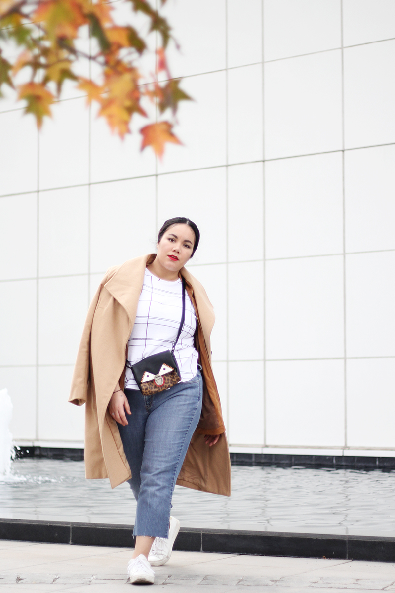 Layered outfit idea for fall/winter - Camel coat - Zara top - Denim | Golden Strokes