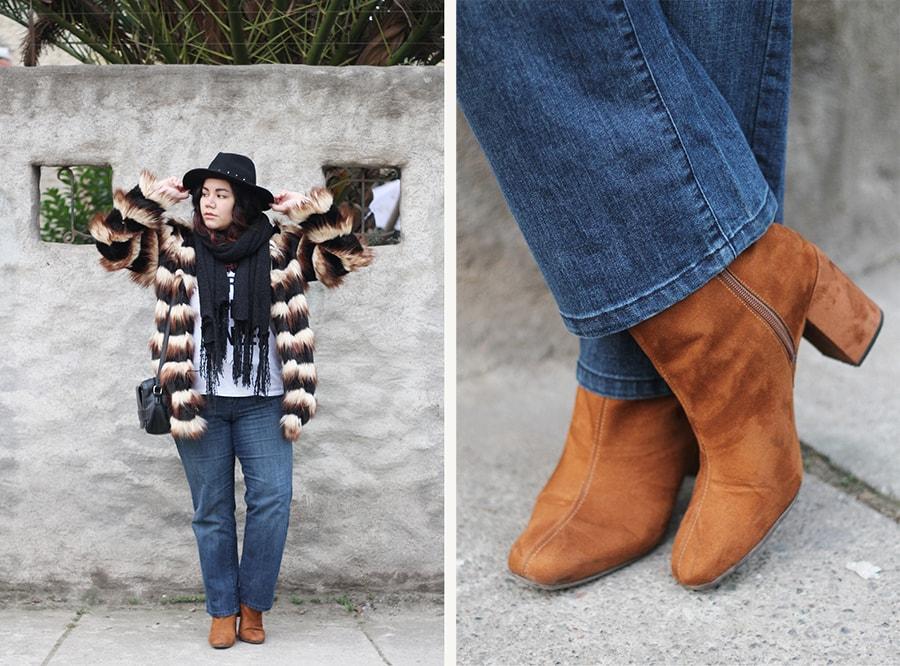 Viviendo el invierno con color, winter outfit with a faux fur coat | Golden Strokes