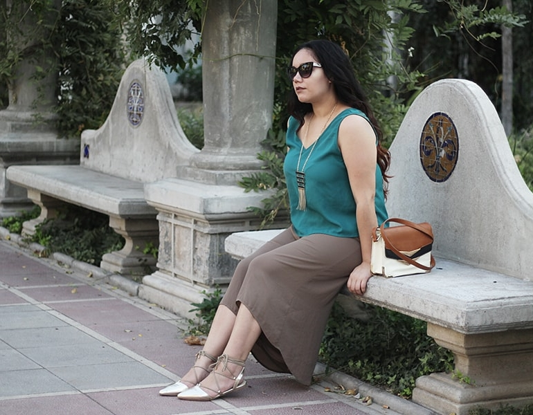 Nude culottes and a greenery touch