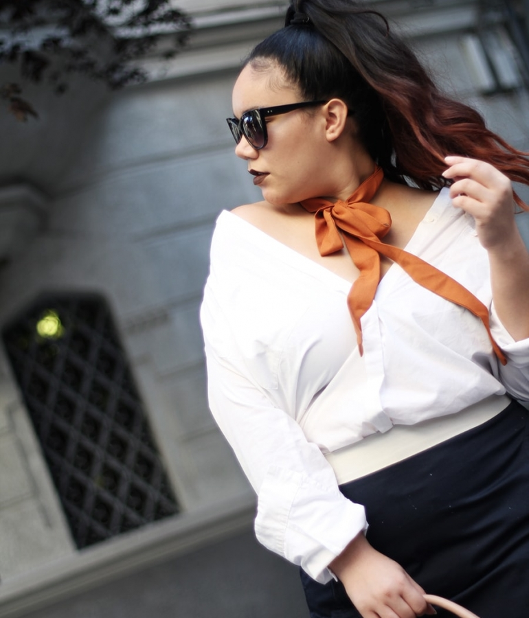Off the shoulders button down shirt