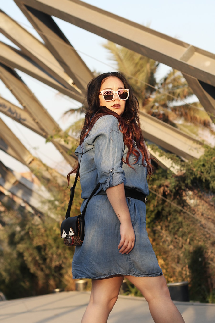 Denim dress double buckle belt - luisa verdee - blogger mexicana