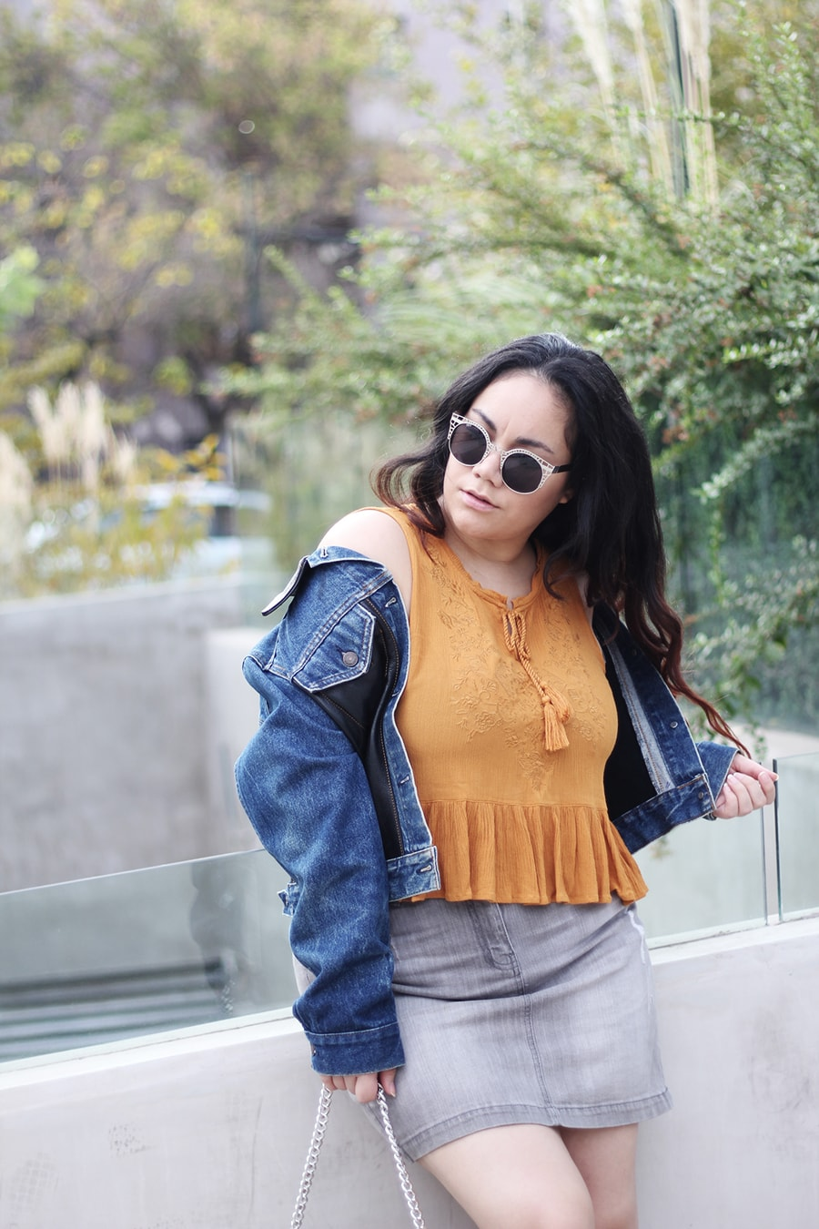 Denim on denim off the shoulders jacket - crop top plus size outfit ideas | golden strokes