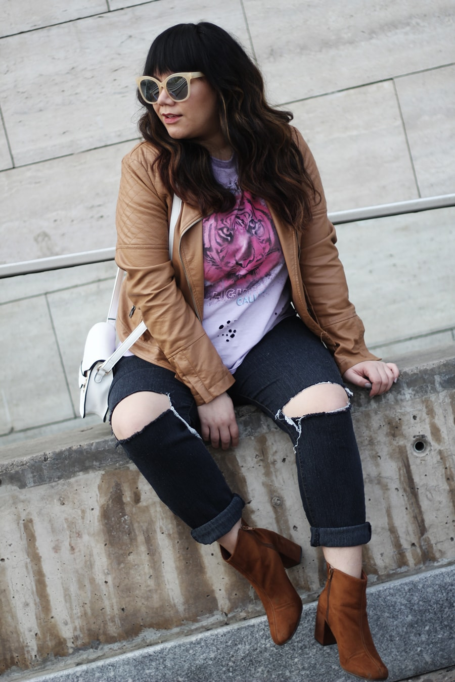 A band tee with a leather jacket