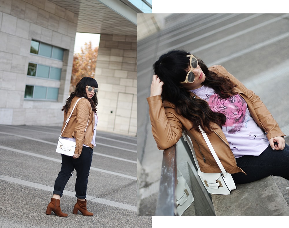 Distressed band tee with leather jacket - color outfit chic - golden strokes