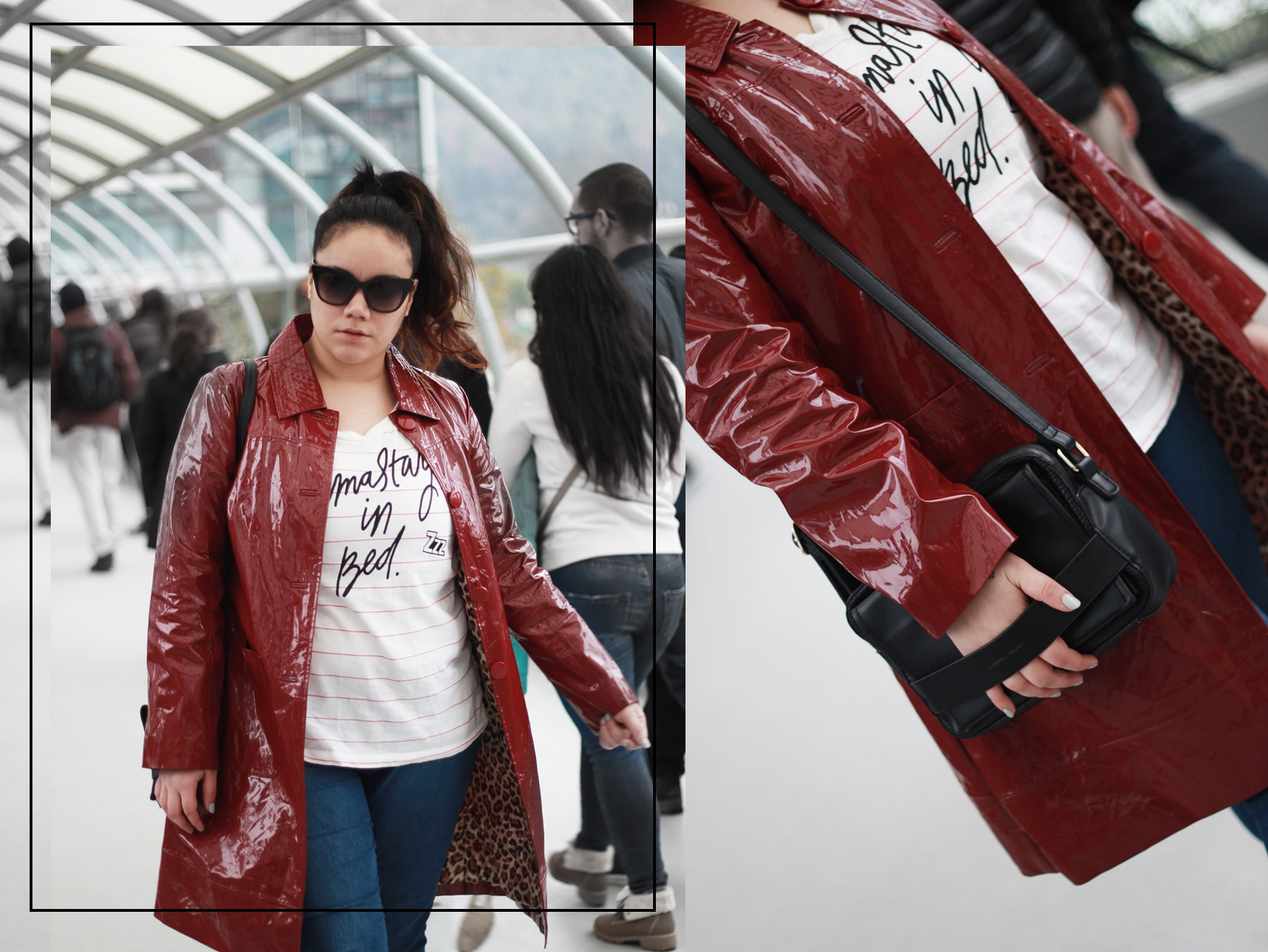 Patent leather vintage red trench coat + jeans and graphic tee + golden strokes - luisa verdee