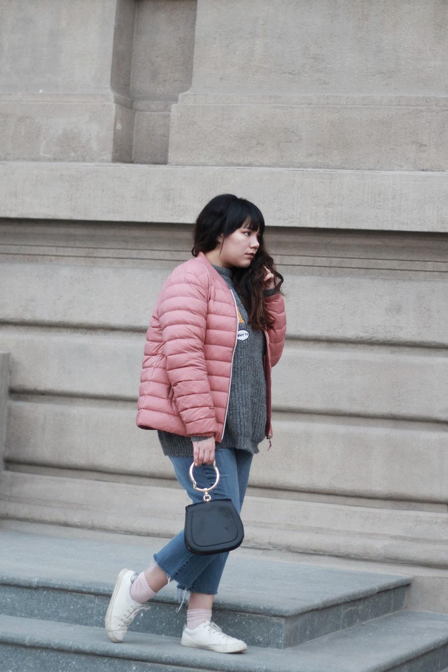 Millennial pink - hoop purse handbag - pink and gray - golden strokes