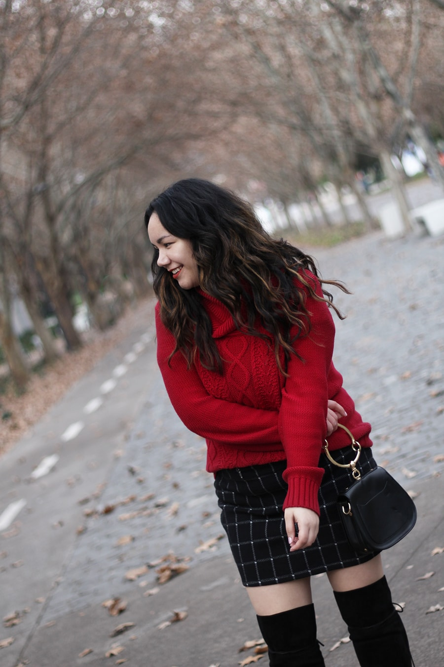 Red sweater weather - golden strokes - over the knee boots curvy fashion