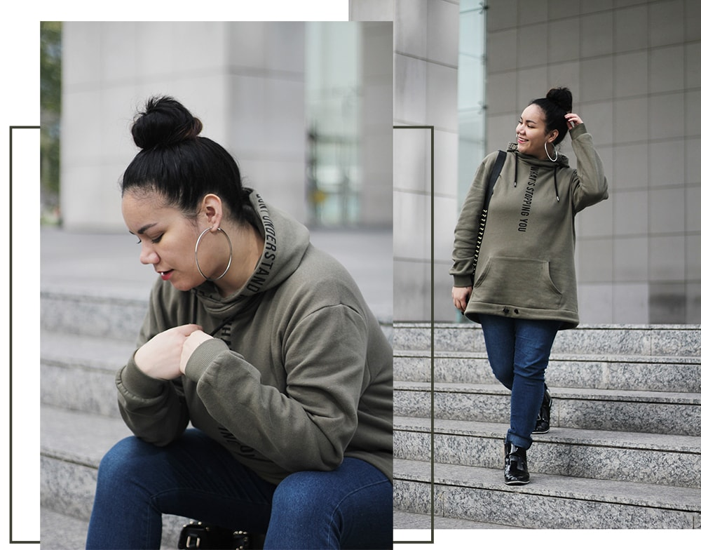 Sporty chic curvy outfit - golden strokes - hoop earrings