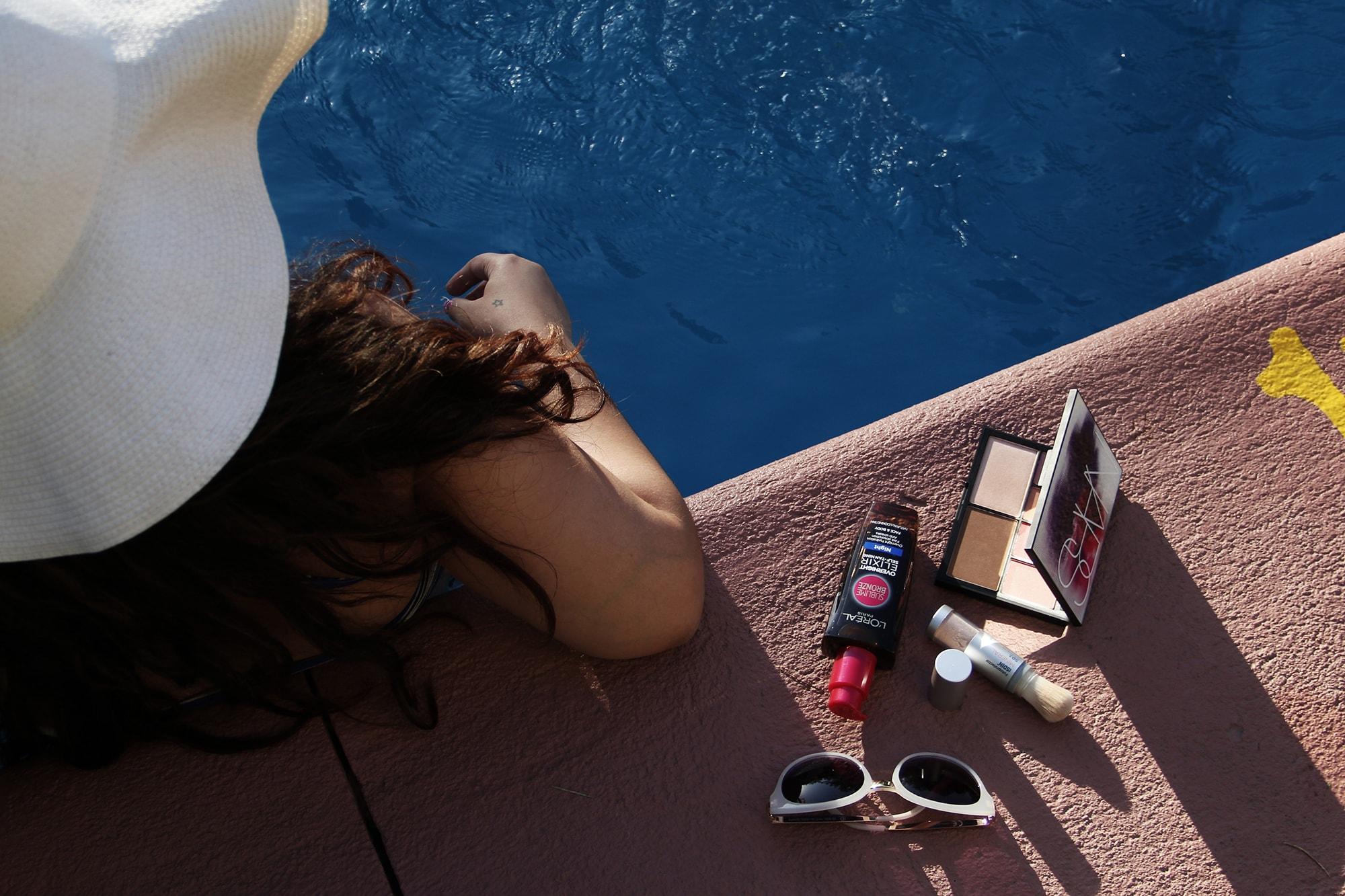 Summer skin care SPF powder sunscreen ISDIN self tanning makeup bronzer palette NARS