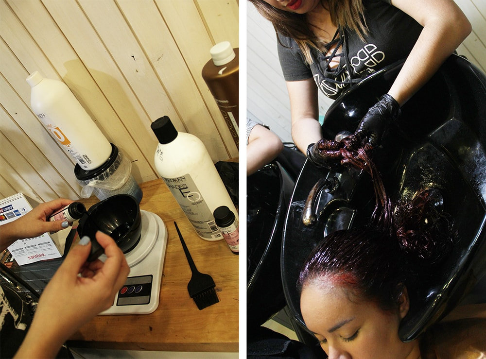 cambio de look corte de cabello LOB y color rojo - palermo soho salon - providencia santiago chile