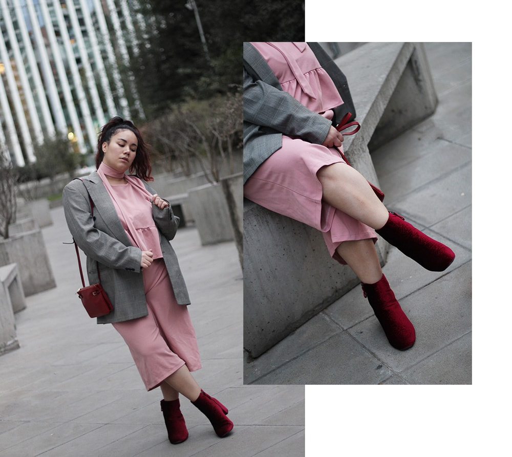 Pink two piece set gales print vintage blazer