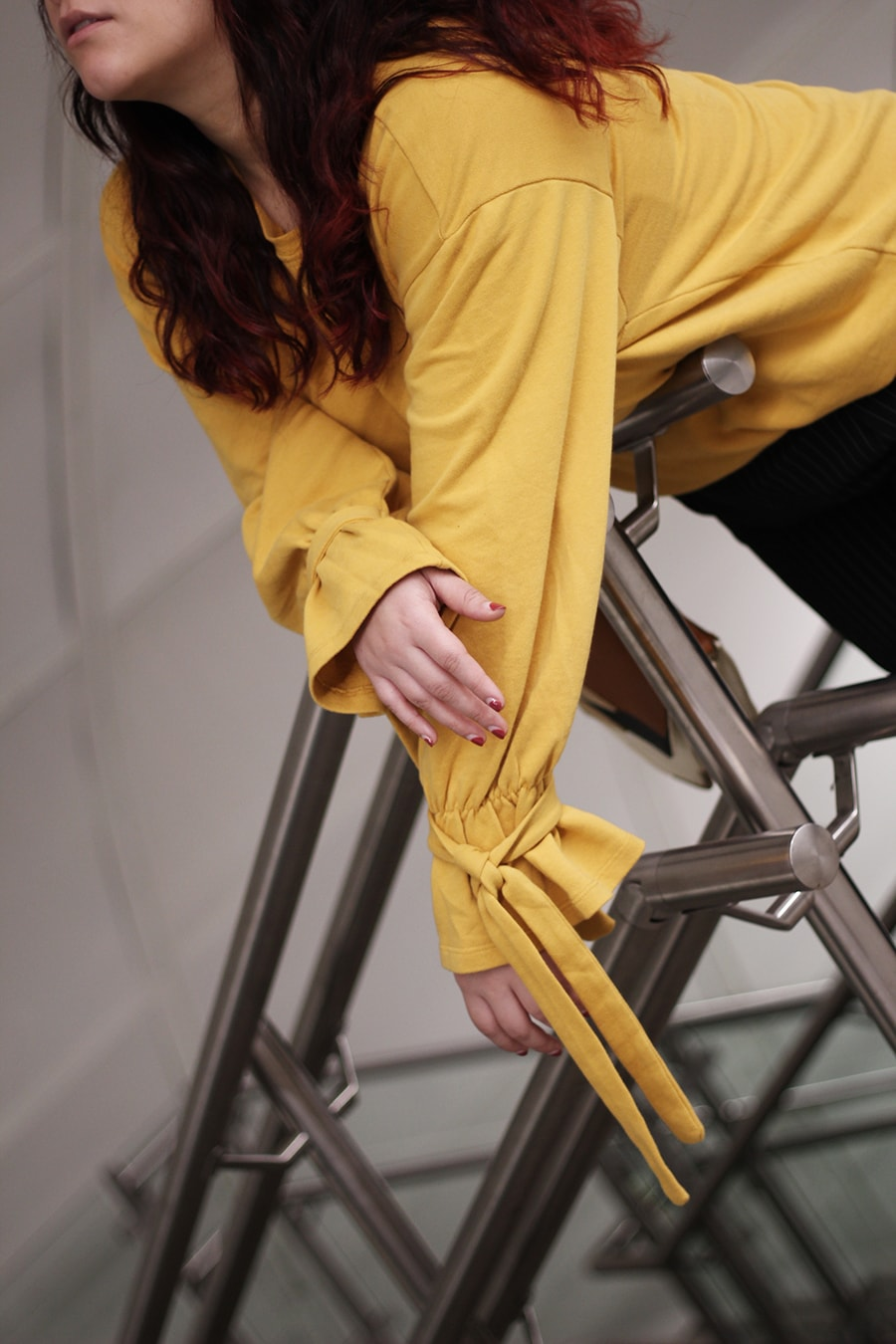 Street style plus size fashion golden strokes bell sleeves mustard sweater