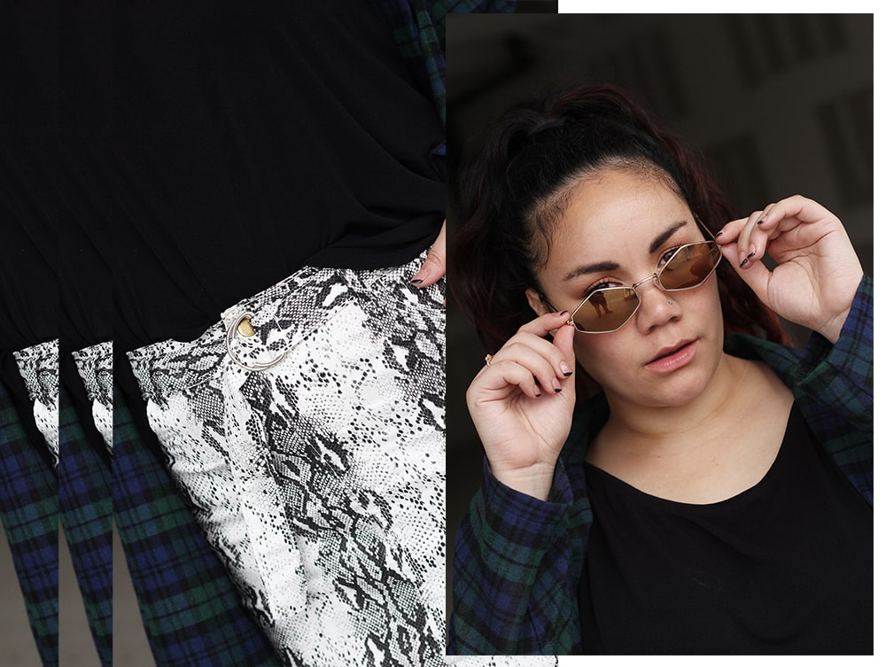 Snake print - plaid - curvy outfit inspo