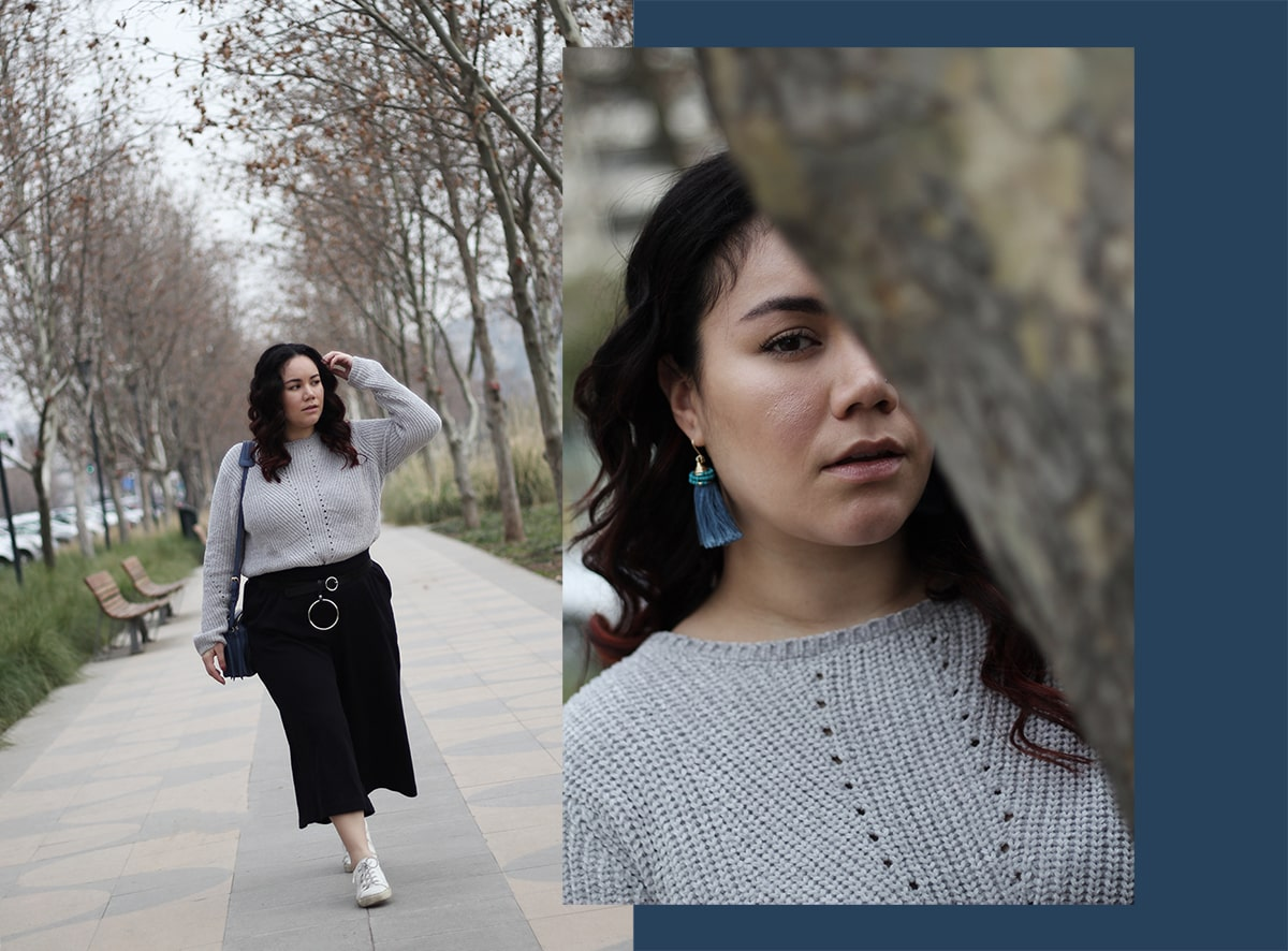 curvy mexican blogger street style culottes grey sweater blue accessories