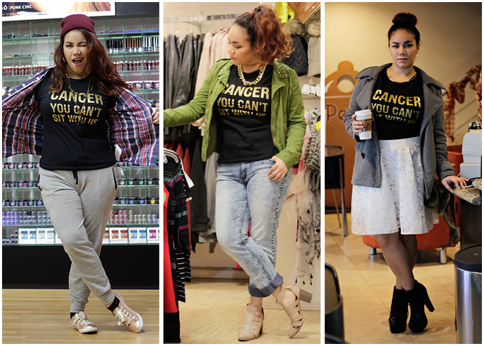 How to: 3 ways to style your #CANCERYOUCANT t-shirt