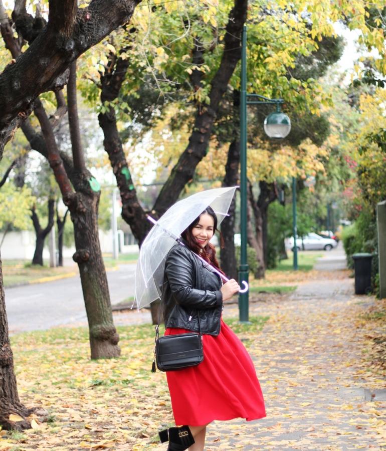 Red midi skirt for the rain